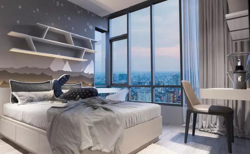 Giường ngủ căn hộ penthouse